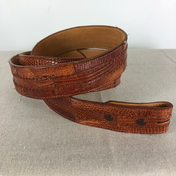 Tony Lama Accessories - Tony Lamas Brown Patchwork Textured Belt USA